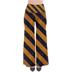 Stripes3 Black Marble & Yellow Grunge Pants