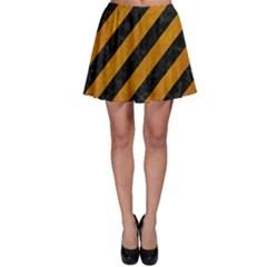 Stripes3 Black Marble & Yellow Grunge (r) Skater Skirt