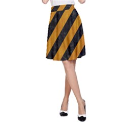 Stripes3 Black Marble & Yellow Grunge (r) A Line Skirt