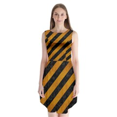Stripes3 Black Marble & Yellow Grunge (r) Sleeveless Chiffon Dress