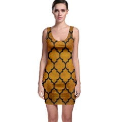 Tile1 Black Marble & Yellow Grunge Bodycon Dress