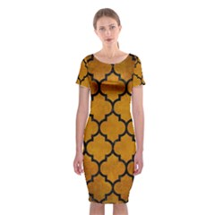 Tile1 Black Marble & Yellow Grunge Classic Short Sleeve Midi Dress
