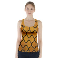 Tile1 Black Marble & Yellow Grunge Racer Back Sports Top