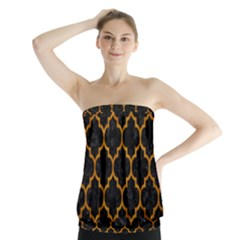 Tile1 Black Marble & Yellow Grunge (r) Strapless Top