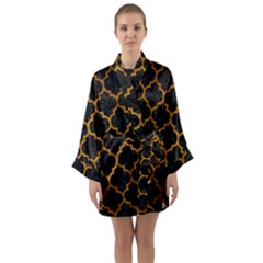 Tile1 Black Marble & Yellow Grunge (r) Long Sleeve Kimono Robe