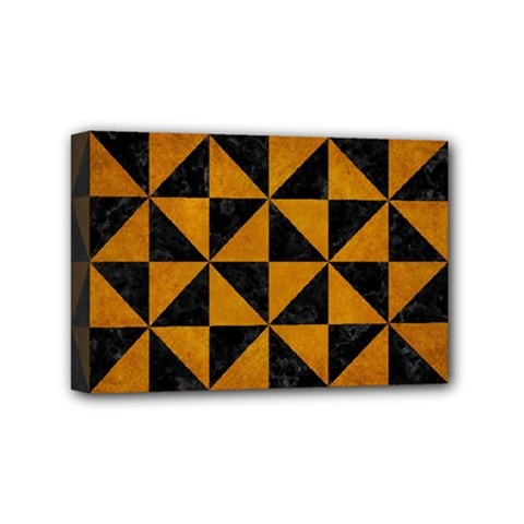 Triangle1 Black Marble & Yellow Grunge Mini Canvas 6  X 4