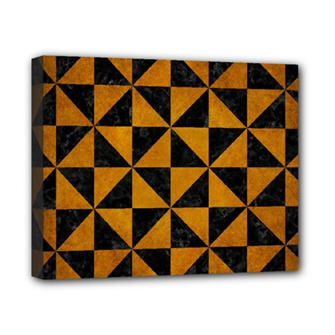 Triangle1 Black Marble & Yellow Grunge Canvas 10  X 8