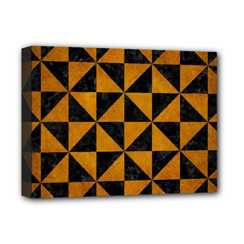 Triangle1 Black Marble & Yellow Grunge Deluxe Canvas 16  X 12