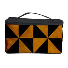 Triangle1 Black Marble & Yellow Grunge Cosmetic Storage Case