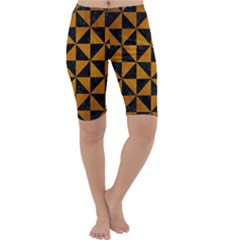 Triangle1 Black Marble & Yellow Grunge Cropped Leggings