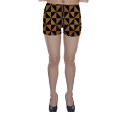Triangle1 Black Marble & Yellow Grunge Skinny Shorts