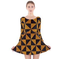 Triangle1 Black Marble & Yellow Grunge Long Sleeve Velvet Skater Dress