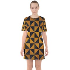 Triangle1 Black Marble & Yellow Grunge Sixties Short Sleeve Mini Dress