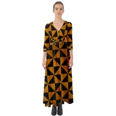 Triangle1 Black Marble & Yellow Grunge Button Up Boho Maxi Dress