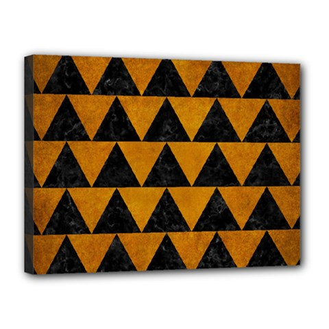 Triangle2 Black Marble & Yellow Grunge Canvas 16  X 12