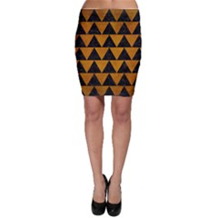 Triangle2 Black Marble & Yellow Grunge Bodycon Skirt