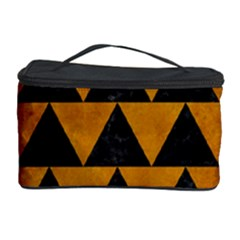 Triangle2 Black Marble & Yellow Grunge Cosmetic Storage Case