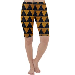 Triangle2 Black Marble & Yellow Grunge Cropped Leggings