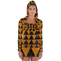 Triangle2 Black Marble & Yellow Grunge Long Sleeve Hooded T Shirt