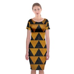 Triangle2 Black Marble & Yellow Grunge Classic Short Sleeve Midi Dress