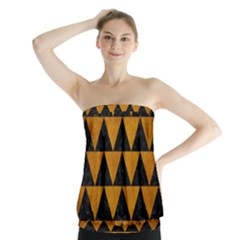 Triangle2 Black Marble & Yellow Grunge Strapless Top