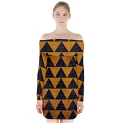 Triangle2 Black Marble & Yellow Grunge Long Sleeve Off Shoulder Dress