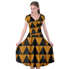 Triangle2 Black Marble & Yellow Grunge Cap Sleeve Wrap Front Dress