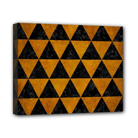 Triangle3 Black Marble & Yellow Grunge Canvas 10  X 8