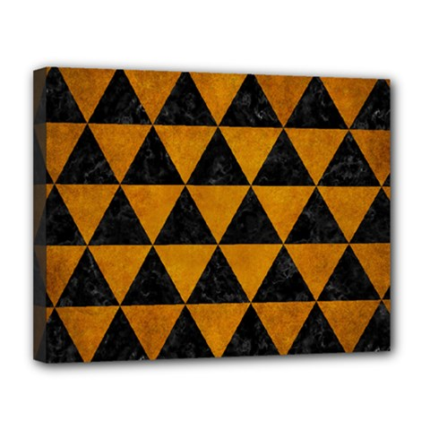 Triangle3 Black Marble & Yellow Grunge Canvas 14  X 11