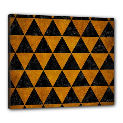 Triangle3 Black Marble & Yellow Grunge Canvas 24  X 20