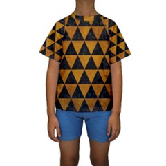 Triangle3 Black Marble & Yellow Grunge Kids  Short Sleeve Swimwear