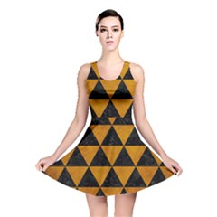 Triangle3 Black Marble & Yellow Grunge Reversible Skater Dress
