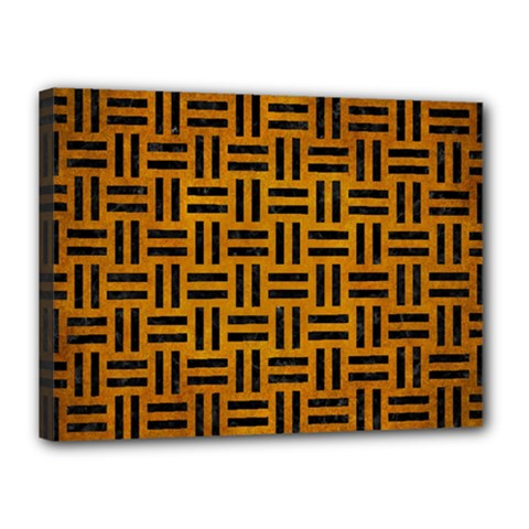 Woven1 Black Marble & Yellow Grunge Canvas 16  X 12