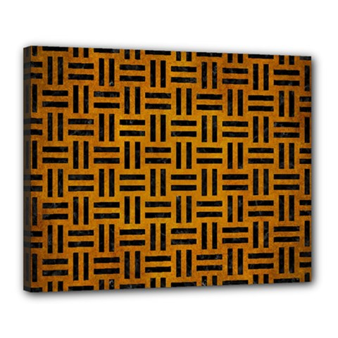 Woven1 Black Marble & Yellow Grunge Canvas 20  X 16