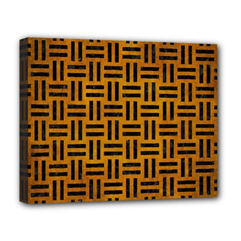 Woven1 Black Marble & Yellow Grunge Deluxe Canvas 20  X 16