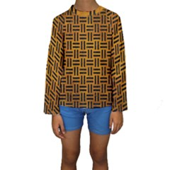 Woven1 Black Marble & Yellow Grunge Kids  Long Sleeve Swimwear