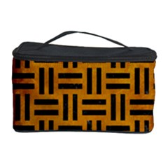 Woven1 Black Marble & Yellow Grunge Cosmetic Storage Case