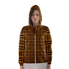 Woven1 Black Marble & Yellow Grunge Hooded Wind Breaker (women)