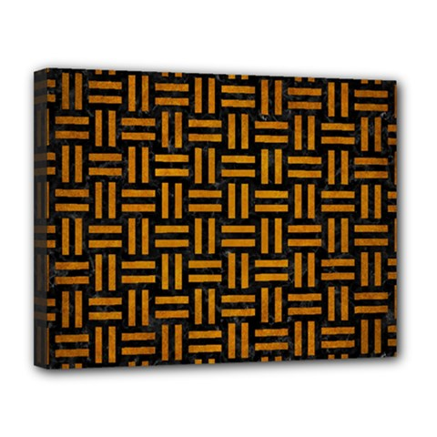 Woven1 Black Marble & Yellow Grunge (r) Canvas 14  X 11