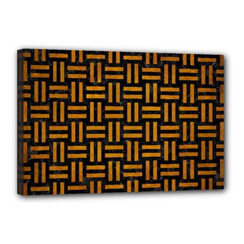Woven1 Black Marble & Yellow Grunge (r) Canvas 18  X 12