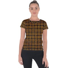 Woven1 Black Marble & Yellow Grunge (r) Short Sleeve Sports Top