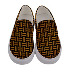 Woven1 Black Marble & Yellow Grunge (r) Women s Canvas Slip Ons