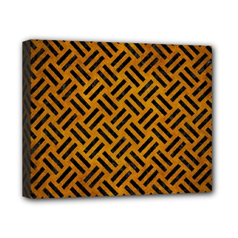 Woven2 Black Marble & Yellow Grunge Canvas 10  X 8