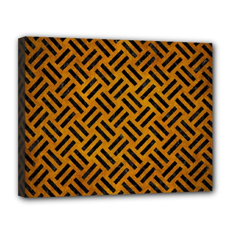 Woven2 Black Marble & Yellow Grunge Canvas 14  X 11