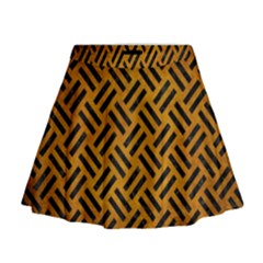 Woven2 Black Marble & Yellow Grunge Mini Flare Skirt