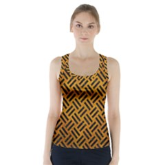 Woven2 Black Marble & Yellow Grunge Racer Back Sports Top