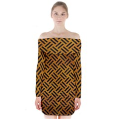 Woven2 Black Marble & Yellow Grunge Long Sleeve Off Shoulder Dress