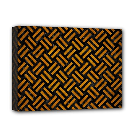 Woven2 Black Marble & Yellow Grunge (r) Deluxe Canvas 16  X 12