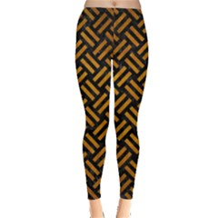 Woven2 Black Marble & Yellow Grunge (r) Leggings