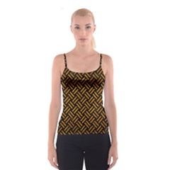 Woven2 Black Marble & Yellow Grunge (r) Spaghetti Strap Top